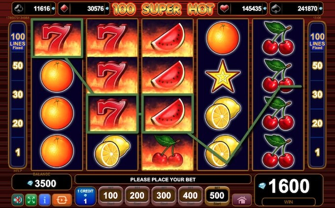 Características slot 100 Super Hot