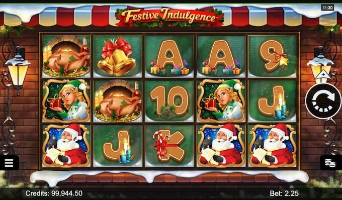 Design e símbolos da slot Festive Indulgence por Microgaming