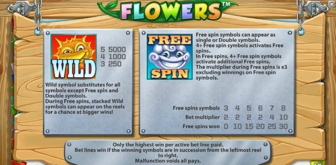 Símbolos na slot Flowers