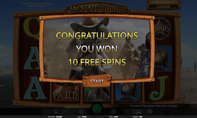 Free Spins na slot Jackpot Rango