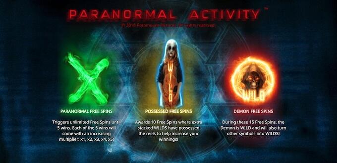 Recursos e giros grátis de Paranormal Activity