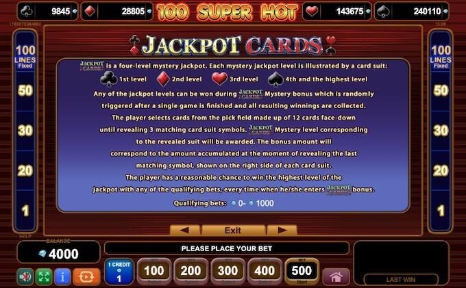 Jackpot slot 100 Super Hot