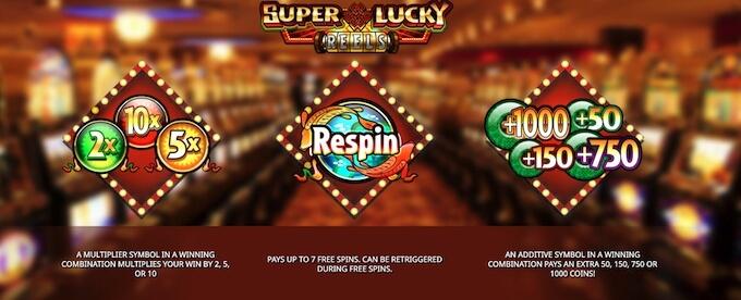 Recursos slot Super Lucky Reels