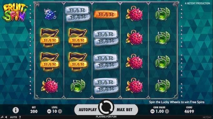 Símbolos da slot Fruit Spin
