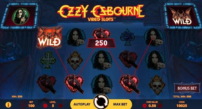 Símbolos e design gráfico da slot Ozzy Osbourne