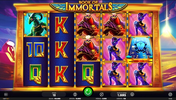 Cores e características Book of Immortals slot