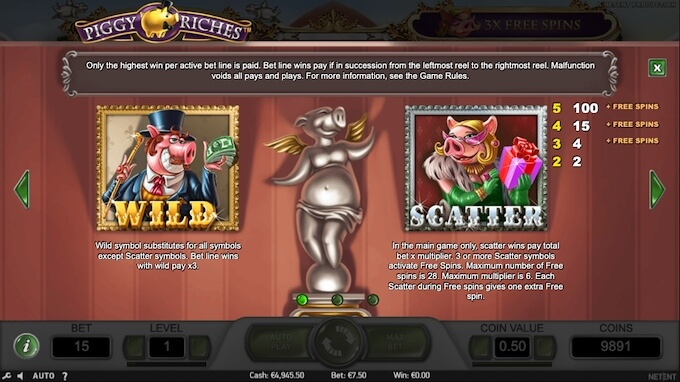Símbolos wild e scatter slot Piggy Riches